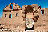 """Pictures of the the ruins of the 8th century University of  Harran, south west Anatolia, Turkey.  Harran was a major ancient city in Upper Mesopotamia whose site is near the modern village of Altınbaşak, Turkey, 24 miles (44 kilometers) southeast of Şanlıurfa. The location is in a district of Şanlıurfa Province that is also named """"Harran"""". Harran is famous for its traditional 'beehive' adobe houses, constructed entirely without wood. The design of these makes them cool inside. 49 .<br /> <br /> If you prefer to buy from our ALAMY PHOTO LIBRARY  Collection visit : https://www.alamy.com/portfolio/paul-williams-funkystock/harran.html<br /> <br /> Visit our TURKEY PHOTO COLLECTIONS for more photos to download or buy as wall art prints https://funkystock.photoshelter.com/gallery-collection/3f-Pictures-of-Turkey-Turkey-Photos-Images-Fotos/C0000U.hJWkZxAbg ."""