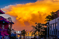 Thunderhead clouds loom over the Caribbean Sea off Playa del Carmen, Riviera Maya, Quintana Roo, Mexico.