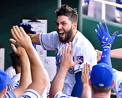 June 30, 2017 - Kansas City, MO, USA - The Kansas City Royals' Eric Hosmer jumps around the dugout after his three-run home run was ruled good on review in the fourth inning against the Minnesota Twins at Kauffman Stadium in Kansas City, Mo., on Friday, June 30, 2017. (Credit Image: © John Sleezer/TNS via ZUMA Wire)