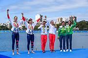 "Rio de Janeiro. BRAZIL.   2016 Olympic Rowing Regatta. Lagoa Stadium, centre Gold Medalist POL W2X: Bow Magdalena Fularczyk-Kozlowska,<br /> Natalia Madaj,  left GBR W2X Bow Victorie THORNLEY, Katherine GRAINGER, right LTU W2X, Bow Donata Karaliene,  Milda Yalciukaite,<br /> <br /> Copacabana,  ""Olympic Summer Games""<br /> Rodrigo de Freitas Lagoon, Lagoa.   Thursday  11/08/2016 <br /> <br /> [Mandatory Credit; Peter SPURRIER/Intersport Images]"
