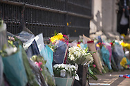 White roses are laid In memory of Prince Philip The Royal Highness the Duke of Edinburgh, London on 9 April 2021.
