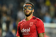 West Bromwich Albion defender Darnell Furlong (2) wears a protective mask during the EFL Sky Bet Championship match between West Bromwich Albion and Derby County at The Hawthorns, West Bromwich, England on 14 September 2021.