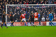 Cauley Woodrow of Barnsley (9) scores an offside goal during the EFL Sky Bet League 1 match between Barnsley and Sunderland at Oakwell, Barnsley, England on 12 March 2019.