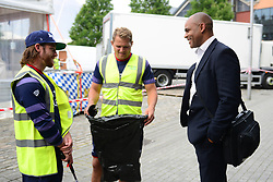 Mayor of Bristol Marvin Rees speaks with Olly Robinson and Ryan Glynn of Bristol Rugby during the Bristol Rugby cleaning Bristol streets in support of the Bristol City Council's Clean Streets campaign on Mandela Day - Mandatory by-line: Dougie Allward/JMP - 18/07/2017 - FOOTBALL - Millennium Square - Bristol, England - Mandella Day Bristol Rugby
