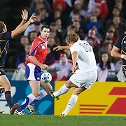 Jonny Wilkinson, England, attempts a drop goal during the England V Scotland Pool B match during the IRB Rugby World Cup tournament. Eden Park, Auckland, New Zealand, 1st October 2011. Photo Tim Clayton...