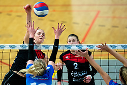 Kirsten van der Lecq of VCN in action during the first league match between Djopzz Regio Zwolle Volleybal - Laudame Financials VCN on February 27, 2021 in Zwolle.