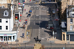 Edinburgh, Scotland, UK. 18 April 2020. Views of empty streets and members of the public outside on another Saturday during the coronavirus lockdown in Edinburgh. Fredeick Street in the New Town is very quiet. Iain Masterton/Alamy Live News