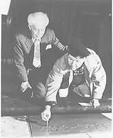 1974 Jack Oakie's handprint ceremony at Grauman's Chinese Theater with Sid Grauman (left)