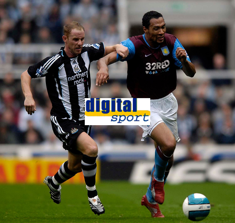 Photo: Jed Wee/Sportsbeat Images.<br /> Newcastle United v Aston Villa. The FA Barclays Premiership. 18/08/2007.<br /> <br /> Aston Villa's John Carew (R) tries to take on Newcastle's Nicky Butt.