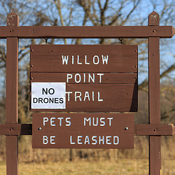 Kleinfeltersville, PA / USA - March 8, 2016:  A No Drones Sign is posted at the Middle Creek Wildlife Management Area, located at the Lebanon and Lancaster County boundaries in Pennsylvania.