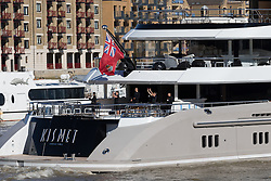 October 3, 2016 - London, London, UK - LONDON, UK.  Staff wave as superyacht, Kismet leaves London on the River Thames passing in front of Tower Bridge during blue skies and sunny autumn weather this lunchtime, after mooring at Butlers Wharf last week. Kismet is 308 feet long and is reportedly owned by Pakistani-American billionaire Shahid Khan, who owns the National Football League (NFL) team, the Jacksonville Jaguars, who played the Colts in an International Series game at Wembley yesterday. Kismet has 6 staterooms, with the master bedroom having its own private deck with jacuzzi and helipad and can be chartered for an estimated £1m per week. (Credit Image: © Vickie Flores/London News Pictures via ZUMA Wire)
