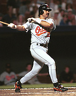 Baltimore Oriole Rafael Palmeiro during game action against the Kansas City Royals at Kauffman Stadium in Kansas City, Missouri in 1995.
