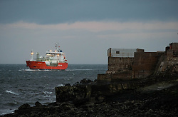 © Licensed to London News Pictures. <br /> 11/01/2017. <br /> Redcar, UK.  <br /> <br /> The CORAL STICHO makes her way in to Teesport at South Gare near Redcar as heavy winds affect many parts of the country. <br /> <br /> <br /> <br /> <br /> Photo credit: Ian Forsyth/LNP
