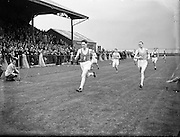 Cavanagh, T. Carrigfoyle, Fermoy (left) winning the 440 yard flat at Iveagh Grounds, Crumlin from D MacCarville