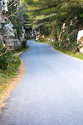 A winding mountain road at Les Baux de Provence, Bouche du Rhone, France