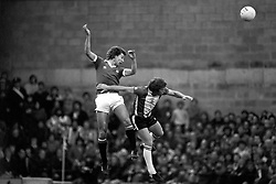 Brian Robson of Manchester United and Southampton's Alan Ball both go for the ball.