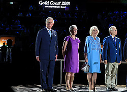 The Prince of Wales (left) and the Duchess of Cornwall (second right) during the Opening Ceremony for the 2018 Commonwealth Games at the Carrara Stadium in the Gold Coast, Australia.