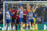 Davy Propper (Brighton), Dan Burn (Brighton) and Glenn Murray (Brighton) wait for a ball from a corner kick during the Premier League match between Brighton and Hove Albion and Bournemouth at the American Express Community Stadium, Brighton and Hove, England on 28 December 2019.