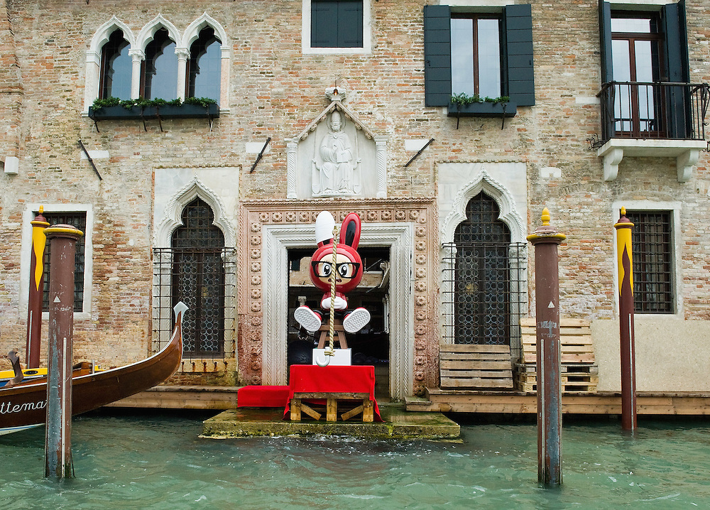 """VENICE, ITALY - JUNE 02:  """"Fishing Rabbit"""" an installation by No2Good is seen from the Grand Canal part of the Exhibition Future Pass on June 2, 2011 in Venice, Italy. The Venice Art Biennale will run from June 4 to November 27, 2011."""