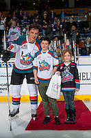 KELOWNA, CANADA - FEBRUARY 10: Leif Mattson #28 of the Kelowna Rockets accepts the second star of the game with two goals against the Vancouver Giants on February 10, 2017 at Prospera Place in Kelowna, British Columbia, Canada.  (Photo by Marissa Baecker/Shoot the Breeze)  *** Local Caption ***