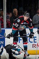 KELOWNA, CANADA - SEPTEMBER 28: Braydyn Chizen #22 of Kelowna Rockets stands on the ice against the Prince George Cougars on September 28, 2016 at Prospera Place in Kelowna, British Columbia, Canada.  (Photo by Marissa Baecker/Shoot the Breeze)  *** Local Caption *** Braydyn Chizen;