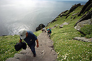 Tourists make their way up The Skellig Rocks off Portmagee in County Kerry..Picture by Don MacMonagle 2007