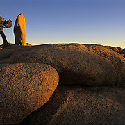 Spectacular rock formation in Joshua Tree National Park, CA.