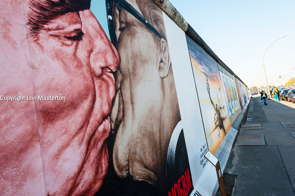mural of Brezhnev kissing Honecker at East Side Gallery at former Berlin Wall in Friedrichshain/Kreuzberg in Berlin Germany