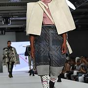 Designer Elfreda Fakoya at the Best of Graduate Fashion Week showcases at the Graduate Fashion Week 2018, June 6 2018 at Truman Brewery, London, UK.