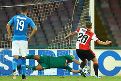 September 26, 2017 - Naples, Campania, Italy - Pepe Reina of Napoli saves the penalty kicked by Jens Toornstra of Feyenoord  during the UEFA Champions League group F match between SSC Napoli and Feyenoord at Stadio San Paolo on September 26, 2017 in Naples, Italy. (Credit Image: © Matteo Ciambelli/NurPhoto via ZUMA Press)