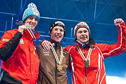 20.03.2010, Planica, Kranjska Gora, SLO, FIS SKI Flying World Championships 2010, Flying Hill Individual Medal Ceremony, im Bild die Medaillengewinner v.l. zweitplazierte Gregor Schlierenzauer, ( AUT, #28 ), erstplazierte Simon Ammann, ( SUI, #30 ) und der drittplazierte Anders Jacobsen, ( NOR, #23 ), EXPA Pictures © 2010, PhotoCredit: EXPA/ J. Groder / SPORTIDA PHOTO AGENCY