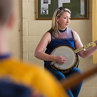 Theresa O'Grady teaching a masterclass on Banjo at Scoil Críost Rí on Saturday morning
