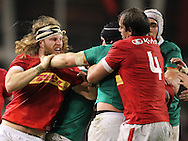 Sean O'Brien of Ireland squares up to Evan Olmstead of Canada (l)  during the 2016 Guinness Series  autumn international rugby match, Ireland v Canada at the Aviva Stadium in Dublin, Ireland on Saturday 12th November 2016.<br /> pic by  John Halas, Andrew Orchard sports photography.