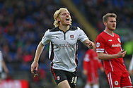 Ben Pringle of Rotherham reacts after shooting wide of the goal. Skybet football league championship match, Cardiff city v Rotherham Utd at the Cardiff city stadium in Cardiff, South Wales on Saturday 6th December 2014<br /> pic by Mark Hawkins, Andrew Orchard sports photography.