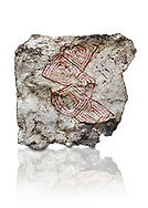 Geometric wall painting fragment found in 1999 in building 2, space 117, level IX. Unit no 4223X1. Catalhoyuk collection, Konya Archaeological Museum, Turkey. Against a white background .<br /> <br /> (updated 2021) Add photos of Catalhoyuk Antiquities using ADD TO CART button as royalty free download or prints or download from our ALAMY STOCK LIBRARY page at https://www.alamy.com/portfolio/paul-williams-funkystock - Scroll down and type -  Catalhoyuk  - into LOWER search box. (TIP - Refine search by adding a background colour as well).<br /> <br /> Visit our PREHISTORIC PLACES PHOTO COLLECTIONS for more  photos to download or buy as prints https://funkystock.photoshelter.com/gallery-collection/Prehistoric-Neolithic-Sites-Art-Artefacts-Pictures-Photos/C0000tfxw63zrUT4