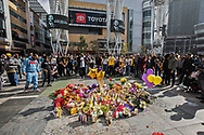Fans of Kobe Bryant gather at L.A. Live, next to the Staples Center, to mourn for Kobe and his daughter Gigi Bryant who both died in a helicopter crash in Calabasas, CA.<br /> 1/27/2020 Downtown Los Angeles, CA, USA.<br /> (Photo by Ted Soqui)