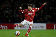 Freddie Hinds of Bristol City takes a shot at goal. The Emirates FA Cup, 3rd round match, Watford v Bristol City  at Vicarage Road in Watford, London on Saturday 6th January 2018.<br /> pic by Steffan Bowen, Andrew Orchard sports photography.