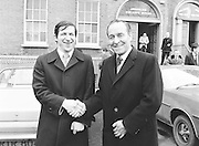 Two members shake hands at the GAA Congress which was held at Coláiste Mhuire on the 24th of March 1979.