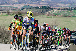 An ill-timed mechanical puts an end to Emma Johansson's chances of winning the first Strade Bianche.