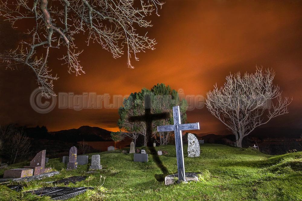 Graveyard, Herøy Gard-Norway, around midnight, lighten with torch   Gravplass ved Herøy Gard, rundt midnatt. Opplyst med lommelykt.