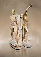 2nd century AD Roman marble sculpture of Harmodius (inv 6009) and Aristogeiton (inv 6010) known as the Tyrannicide group, inv 6307, a Roman copy of an early classical period Geek original, Naples Museum of Archaeology, Italy ..<br /> <br /> If you prefer to buy from our ALAMY STOCK LIBRARY page at https://www.alamy.com/portfolio/paul-williams-funkystock/greco-roman-sculptures.html . Type -    Naples    - into LOWER SEARCH WITHIN GALLERY box - Refine search by adding a subject, place, background colour, museum etc.<br /> <br /> Visit our ROMAN WORLD PHOTO COLLECTIONS for more photos to download or buy as wall art prints https://funkystock.photoshelter.com/gallery-collection/The-Romans-Art-Artefacts-Antiquities-Historic-Sites-Pictures-Images/C0000r2uLJJo9_s0