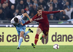 March 2, 2019 - Rome, Lazio, Italy - SS Lazio v As Roma : Serie A.Niccolo Zaniolo of Roma and Stefan Radu of Lazio at Olimpico Stadium in Rome, Italy on March 2, 2019. (Credit Image: © Matteo Ciambelli/NurPhoto via ZUMA Press)