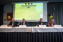 June 5, 2018 - Grobbendonk, BELGIUM - Herwig Van Lommel, Luc Van Thillo, Frank Janssen and Stefan Van Lommel pictured during a press conference of new soccer team KSK Lierse Kempenzonen, a merger between bankrupt Lierse SK and Oosterzonen, in Grobbendonk, Tuesday 05 June 2018. BELGA PHOTO LUC CLAESSEN (Credit Image: © Luc Claessen/Belga via ZUMA Press)
