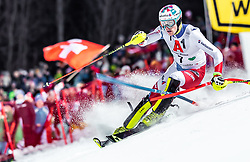 """29.01.2019, Planai, Schladming, AUT, FIS Weltcup Ski Alpin, Slalom, Herren, 1. Lauf, im Bild Daniel Yule (SUI) // Daniel Yule of Switzerland in action during his 1st run of men's Slalom """"the Nightrace"""" of FIS ski alpine world cup at the Planai in Schladming, Austria on 2019/01/29. EXPA Pictures © 2019, PhotoCredit: EXPA/ JFK"""