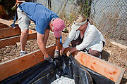 July 24, 2010. Stapling the Weedcloth for the final preparations of the planting beds at the Venice Community Garden. The Venice Garden broke ground in April, 2010. Soil tests revealed high levels of arsenic and lead because of previous uses which included a railroad line going through the lot. Steps were taken which included adding protective layers and adding new soil. Planting began in August and the first harvest was in October, 2010. Venice, California, USA