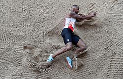 Daniel Bramble in the Long Jump during the Loughborough International Athletics Meeting at the Paula Radcliffe Stadium, Loughborough.