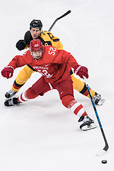 PYEONGCHANG, Feb. 25, 2018  Sergei Shirokov (Front) of Olympic athletes from Russia defends the puck during men's ice hockey final against Germany at Gangneung Hockey Centre, in Gangneung, South Korea, Feb. 25, 2018. The Olympic Athletes from Russia team defeated Germany 4:3 and won the gold medal. (Credit Image: © Wu Zhuang/Xinhua via ZUMA Wire)
