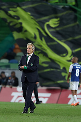 April 18, 2018 - Lisbon, Portugal - Sporting's head coach Jorge Jesus from Portugal  celebrates the victory after the Portugal Cup semifinal second leg football match Sporting CP vs FC Porto at the Alvalade stadium in Lisbon on April 18, 2018. (Credit Image: © Pedro Fiuza/NurPhoto via ZUMA Press)