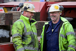 Aquatics Centre steel. Steel workers. Steel cross beam for the Aquatics centre roof is prepared for transport to the Olympic Site at its manufacturers in south Wales. Picture taken on 23rd Mar 2009 by David Poultney.