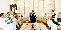 July 14, 2017 - Pakistan - ISLAMABAD, PAKISTAN, JUL 13: Peoples Party (PPP) Chairman, Bilawal Bhutto Zardari .offers condolence with PPP AJK leader, Faisal Mumtaz Rathore on the death of his mother .during meeting held at his residency in Islamabad on Thursday, July 13, 2017. (Credit Image: © PPI via ZUMA Wire)